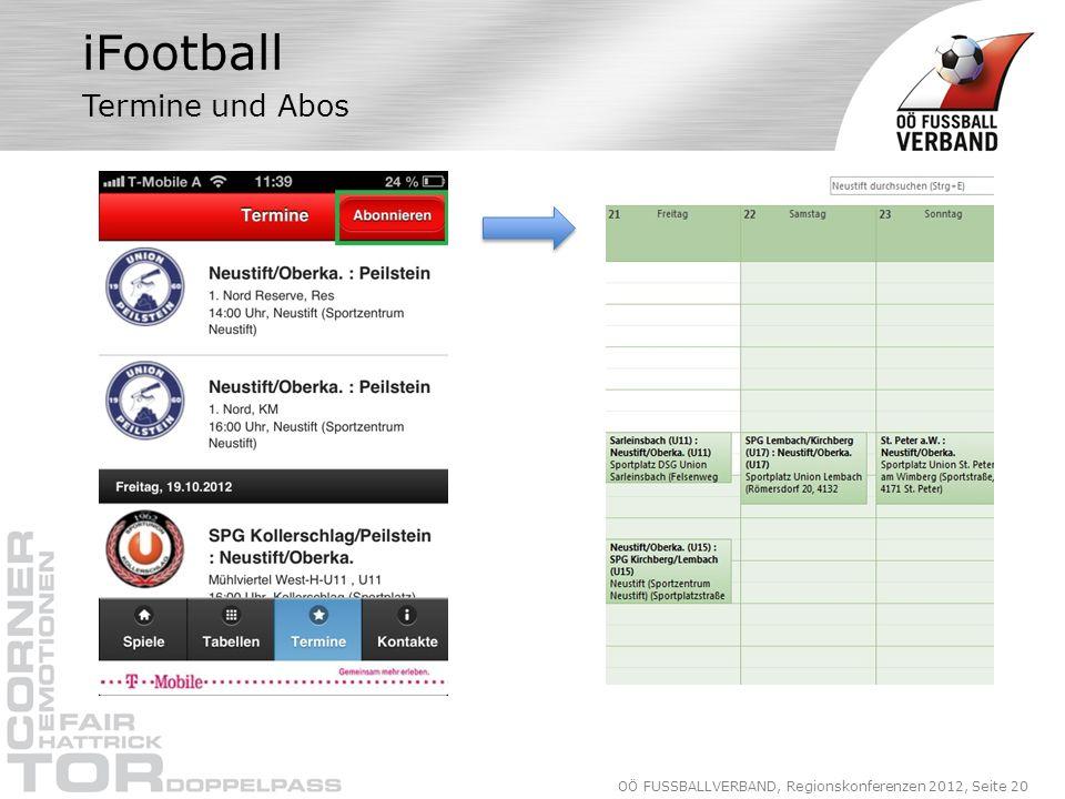 OÖ FUSSBALLVERBAND, Regionskonferenzen 2012, Seite 20 iFootball Termine und Abos