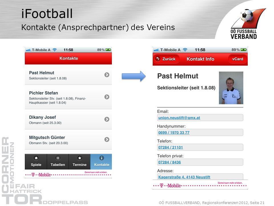 OÖ FUSSBALLVERBAND, Regionskonferenzen 2012, Seite 21 iFootball Kontakte (Ansprechpartner) des Vereins