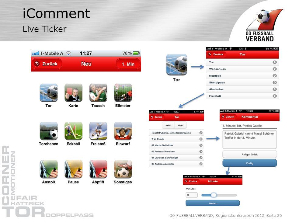 OÖ FUSSBALLVERBAND, Regionskonferenzen 2012, Seite 26 iComment Live Ticker