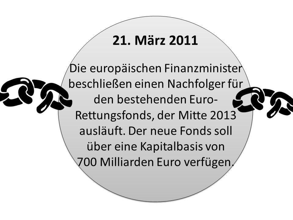 Die europäischen Finanzminister beschließen einen Nachfolger für den bestehenden Euro- Rettungsfonds, der Mitte 2013 ausläuft. Der neue Fonds soll übe