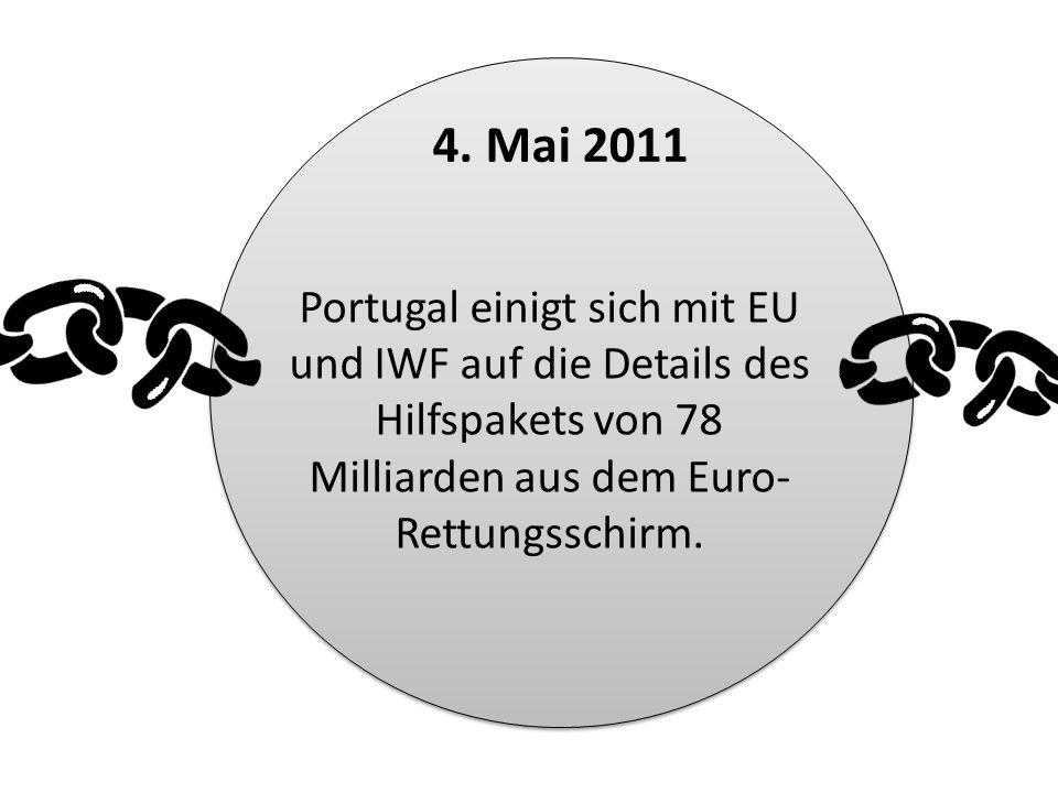 Portugal einigt sich mit EU und IWF auf die Details des Hilfspakets von 78 Milliarden aus dem Euro- Rettungsschirm. 4. Mai 2011