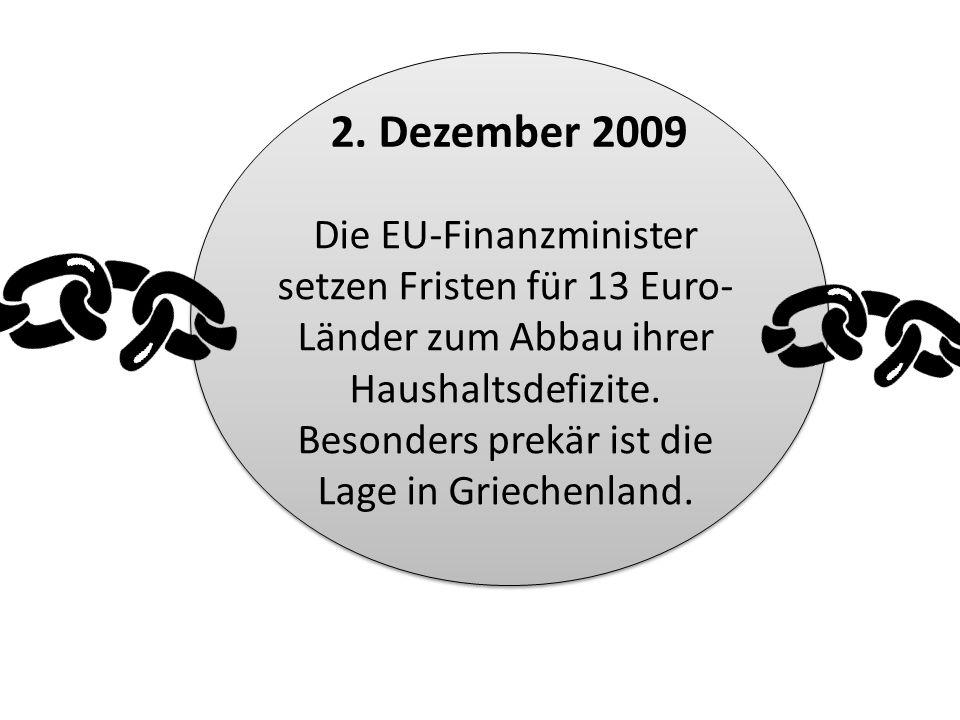 Die EU-Finanzminister setzen Fristen für 13 Euro- Länder zum Abbau ihrer Haushaltsdefizite. Besonders prekär ist die Lage in Griechenland. 2. Dezember
