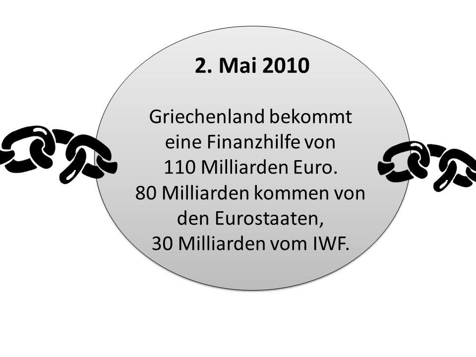 Griechenland bekommt eine Finanzhilfe von 110 Milliarden Euro. 80 Milliarden kommen von den Eurostaaten, 30 Milliarden vom IWF. 2. Mai 2010