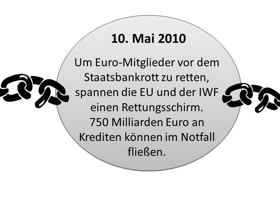 Um Euro-Mitglieder vor dem Staatsbankrott zu retten, spannen die EU und der IWF einen Rettungsschirm. 750 Milliarden Euro an Krediten können im Notfal