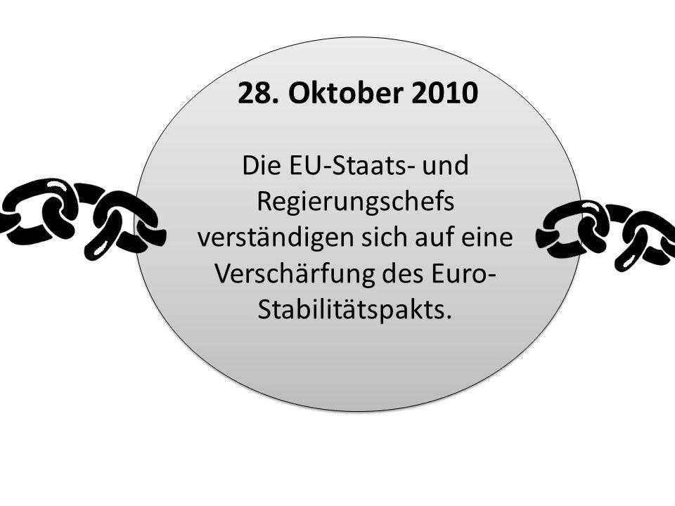 Die EU-Staats- und Regierungschefs verständigen sich auf eine Verschärfung des Euro- Stabilitätspakts. 28. Oktober 2010