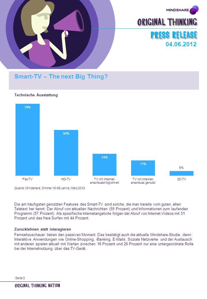Seite 3 Technische Ausstattung Quelle: Mindshare, Onliner 18-69 Jahre, März 2012 Die am häufigsten genutzten Features des Smart-TV sind solche, die man bereits vom guten, alten Teletext her kennt: Der Abruf von aktuellen Nachrichten (59 Prozent) und Informationen zum laufenden Programm (57 Prozent).