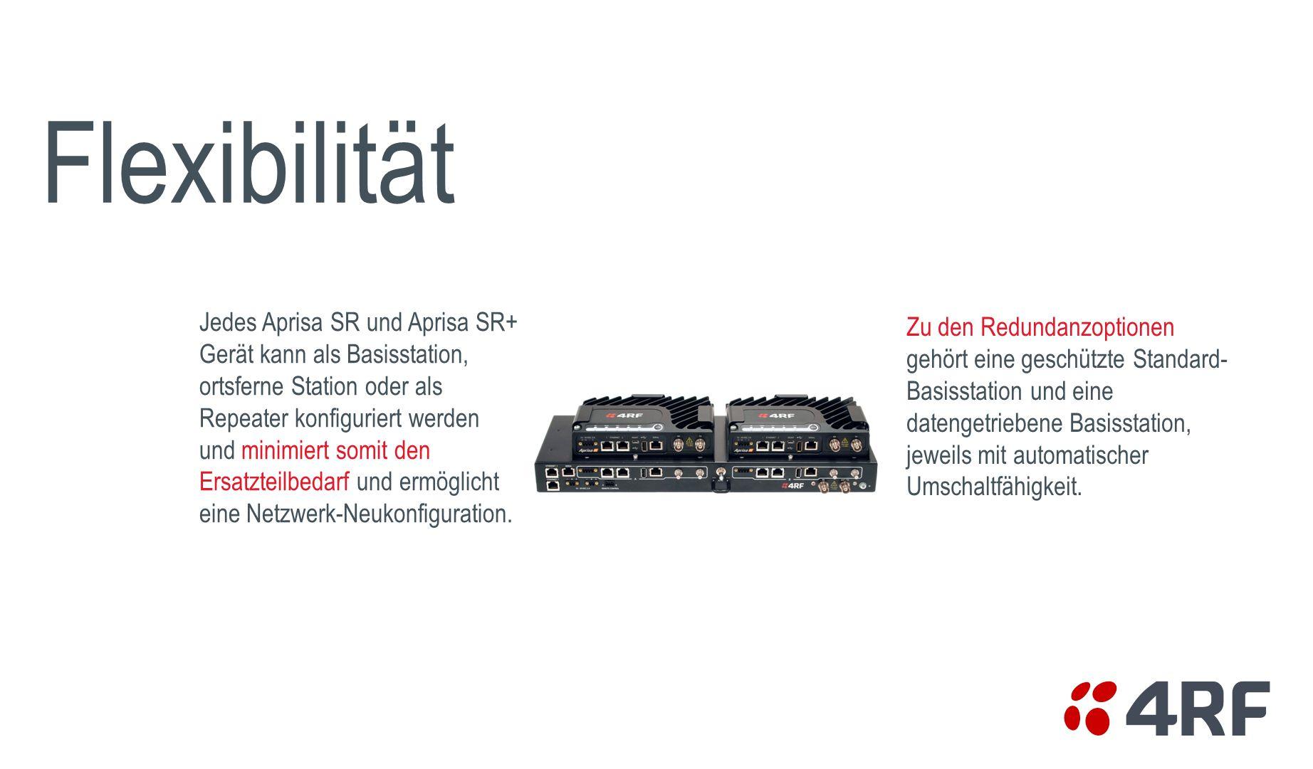Jedes Aprisa SR und Aprisa SR+ Gerät kann als Basisstation, ortsferne Station oder als Repeater konfiguriert werden und minimiert somit den Ersatzteil