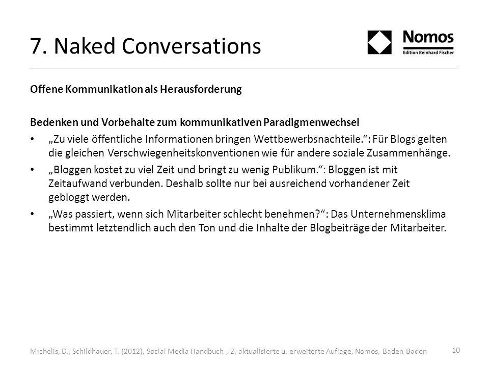 7. Naked Conversations Offene Kommunikation als Herausforderung Bedenken und Vorbehalte zum kommunikativen Paradigmenwechsel Zu viele öffentliche Info