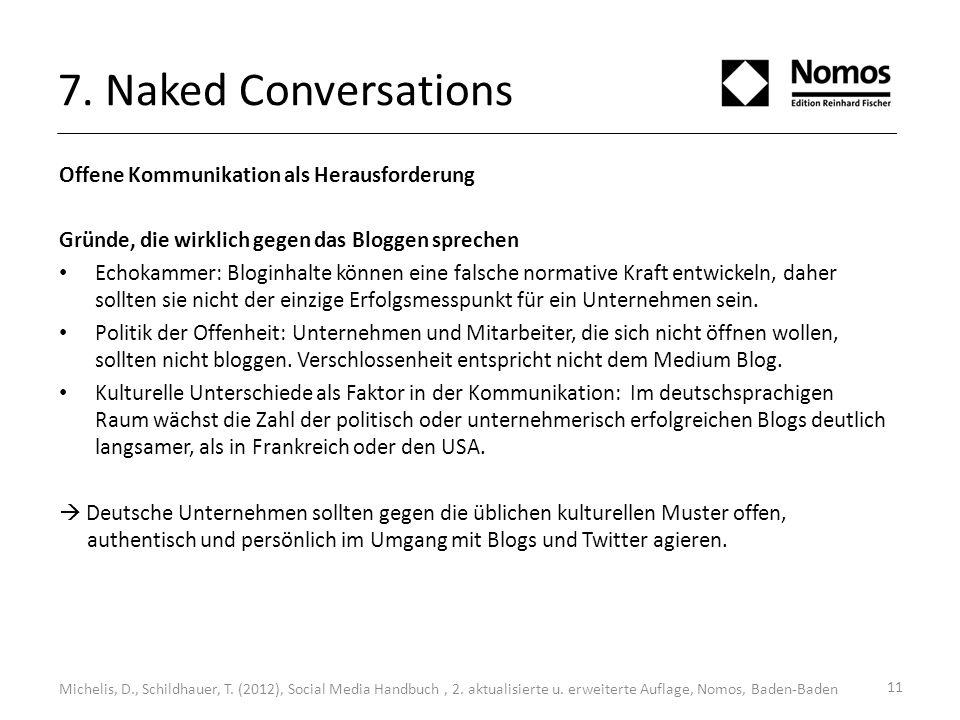 7. Naked Conversations Offene Kommunikation als Herausforderung Gründe, die wirklich gegen das Bloggen sprechen Echokammer: Bloginhalte können eine fa