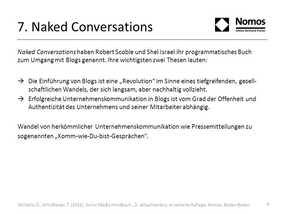 7. Naked Conversations Naked Conversations haben Robert Scoble und Shel Israel ihr programmatisches Buch zum Umgang mit Blogs genannt. Ihre wichtigste