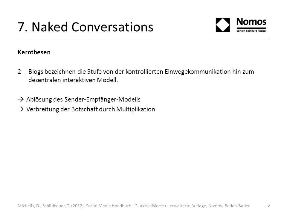 7. Naked Conversations Kernthesen 2Blogs bezeichnen die Stufe von der kontrollierten Einwegekommunikation hin zum dezentralen interaktiven Modell. Abl