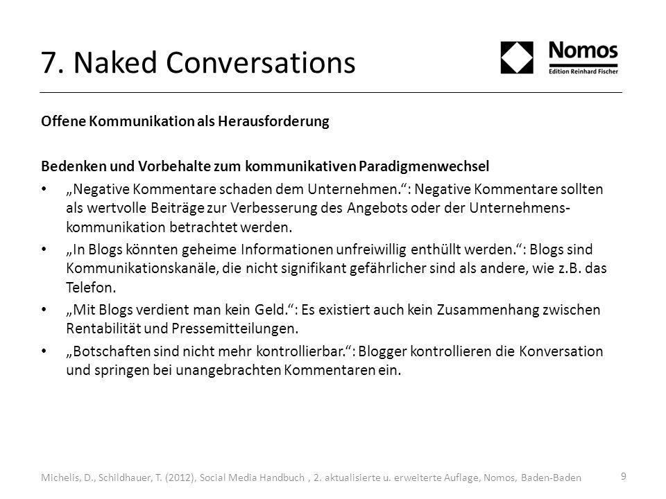7. Naked Conversations Offene Kommunikation als Herausforderung Bedenken und Vorbehalte zum kommunikativen Paradigmenwechsel Negative Kommentare schad