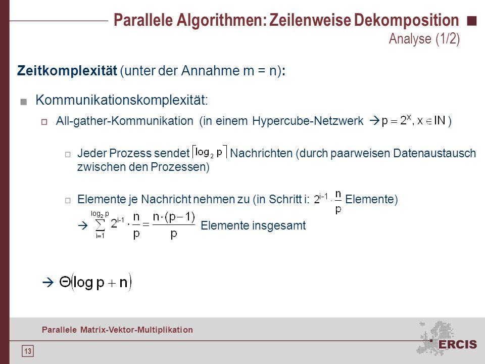 12 Parallele Matrix-Vektor-Multiplikation Blockvektor replizieren: 1) Gemischte xfer Arrays erzeugen 2) All-gather-Kommunikation Parallele Algorithmen