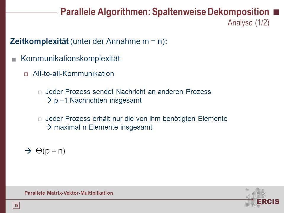 18 Parallele Matrix-Vektor-Multiplikation Parallele Algorithmen: Spaltenweise Dekomposition Teilskalarproduktergebnisse verteilen: 1) Gemischte xfer A