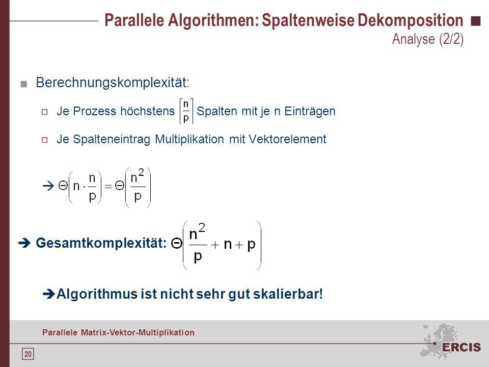 19 Parallele Matrix-Vektor-Multiplikation Parallele Algorithmen: Spaltenweise Dekomposition Zeitkomplexität (unter der Annahme m = n): Kommunikationsk