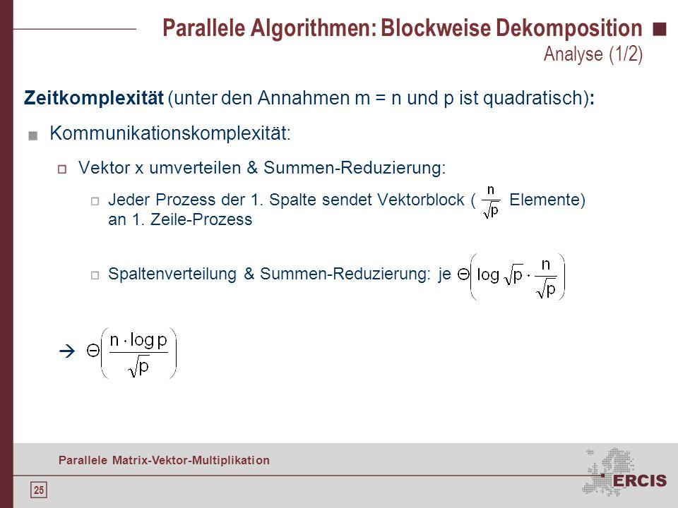 24 Parallele Matrix-Vektor-Multiplikation Parallele Algorithmen: Blockweise Dekomposition Vektor umverteilen (für quadratisches p) : Implementierung (