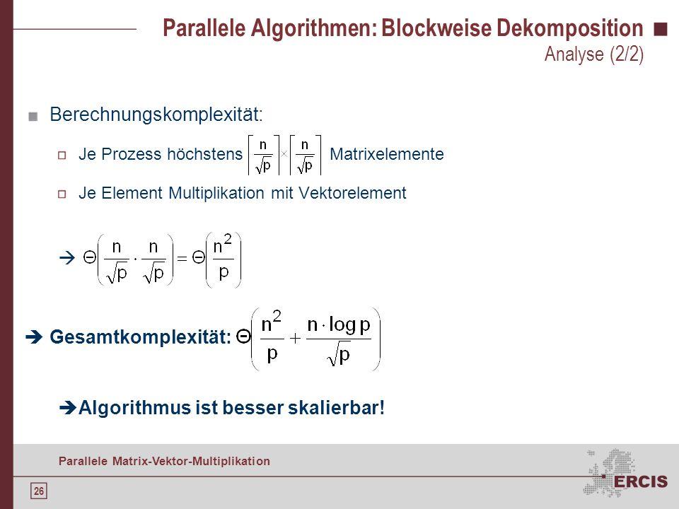 25 Parallele Matrix-Vektor-Multiplikation Parallele Algorithmen: Blockweise Dekomposition Zeitkomplexität (unter den Annahmen m = n und p ist quadrati