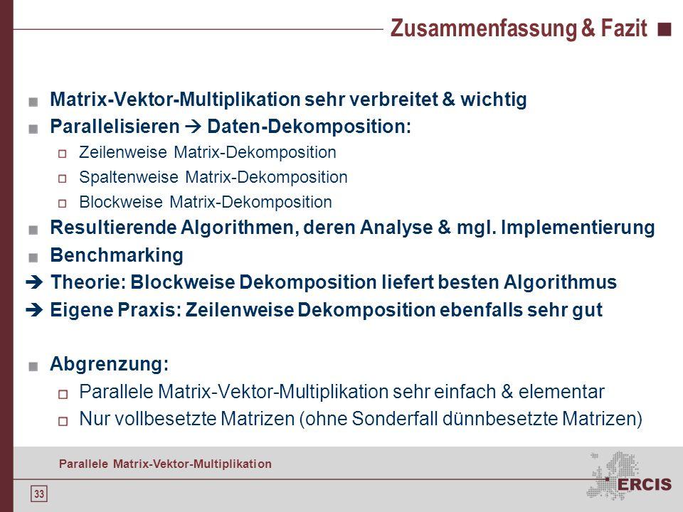 32 Parallele Matrix-Vektor-Multiplikation Agenda Motivation Grundlagen der Matrix-Vektor-Multiplikation Serieller Algorithmus Parallelisieren: Daten-D