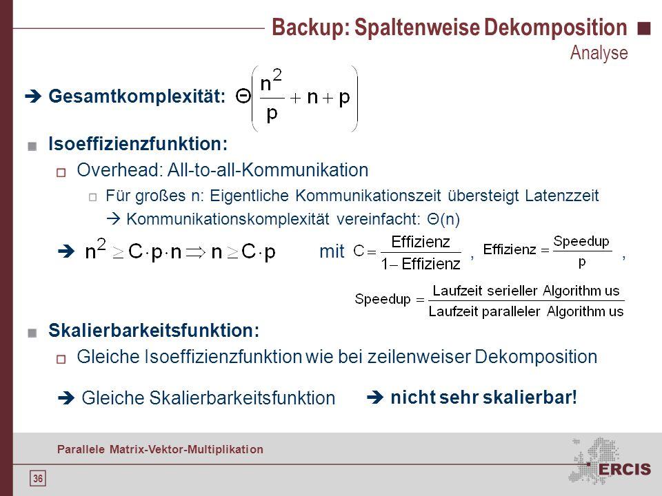 35 Parallele Matrix-Vektor-Multiplikation Backup: Zeilenweise Dekomposition Analyse Gesamtkomplexität: Isoeffizienzfunktion: Overhead: All-gather-Komm