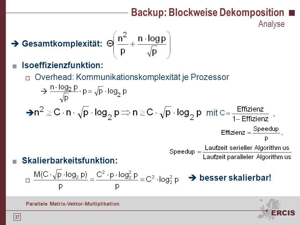 36 Parallele Matrix-Vektor-Multiplikation Backup: Spaltenweise Dekomposition Analyse Gesamtkomplexität: Isoeffizienzfunktion: Overhead: All-to-all-Kom
