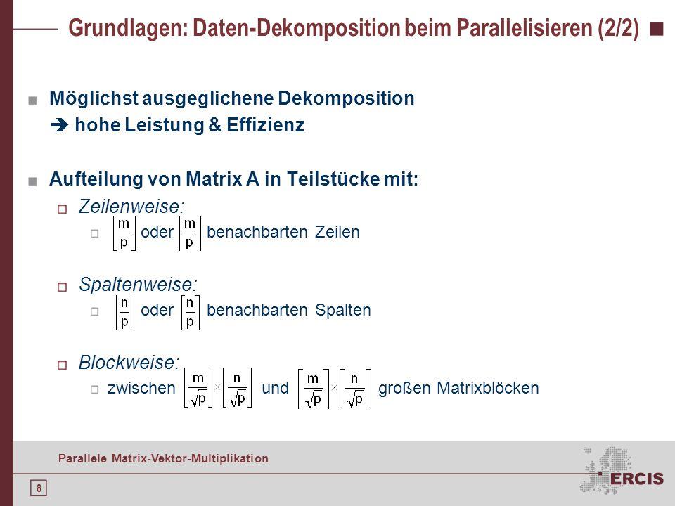 8 Parallele Matrix-Vektor-Multiplikation Grundlagen: Daten-Dekomposition beim Parallelisieren (2/2) Möglichst ausgeglichene Dekomposition hohe Leistung & Effizienz Aufteilung von Matrix A in Teilstücke mit: Zeilenweise: oder benachbarten Zeilen Spaltenweise: oder benachbarten Spalten Blockweise: zwischen und großen Matrixblöcken