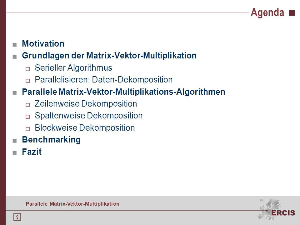9 Parallele Matrix-Vektor-Multiplikation Agenda Motivation Grundlagen der Matrix-Vektor-Multiplikation Serieller Algorithmus Parallelisieren: Daten-Dekomposition Parallele Matrix-Vektor-Multiplikations-Algorithmen Zeilenweise Dekomposition Spaltenweise Dekomposition Blockweise Dekomposition Benchmarking Fazit