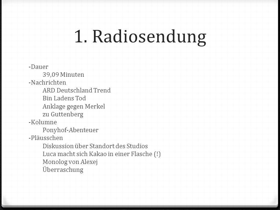 1. Radiosendung -Dauer 39,09 Minuten -Nachrichten ARD Deutschland Trend Bin Ladens Tod Anklage gegen Merkel zu Guttenberg -Kolumne Ponyhof-Abenteuer -