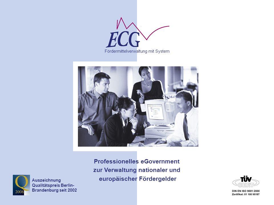 © www.ecg.eu GmbH2 Tagesordnung TOP 1 – Einführung EurekaPlus TOP 2 – Grundfunktionalitäten EurekaPlus TOP 3 – Antrag erstellen und bearbeiten (Maskeneingabeverfahren) TOP 4 – Änderung der Förderzusage Änderungsmitteilung Änderungsantrag Widerruf TOP 5 - Planung
