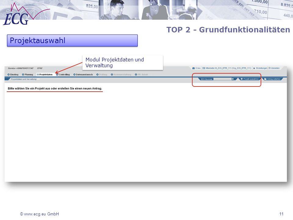 © www.ecg.eu GmbH11 TOP 2 - Grundfunktionalitäten Projektauswahl Modul Projektdaten und Verwaltung