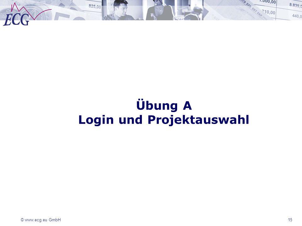 © www.ecg.eu GmbH 15 Übung A Login und Projektauswahl