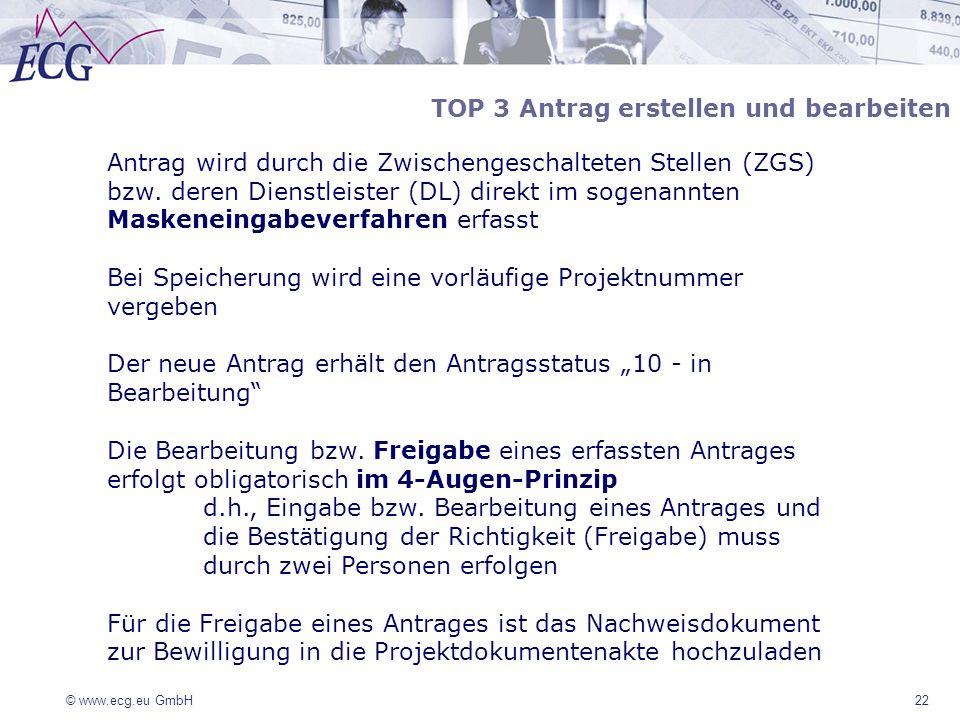 © www.ecg.eu GmbH22 Antrag wird durch die Zwischengeschalteten Stellen (ZGS) bzw. deren Dienstleister (DL) direkt im sogenannten Maskeneingabeverfahre