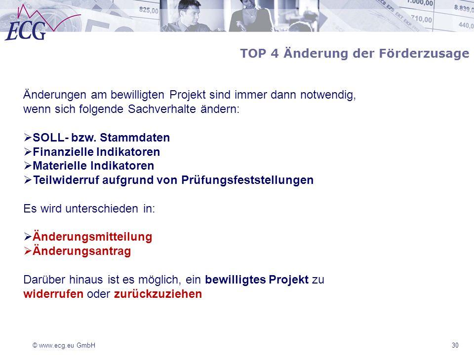 © www.ecg.eu GmbH 30 TOP 4 Änderung der Förderzusage Änderungen am bewilligten Projekt sind immer dann notwendig, wenn sich folgende Sachverhalte ände