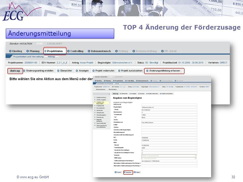 © www.ecg.eu GmbH 32 TOP 4 Änderung der Förderzusage Änderungsmitteilung