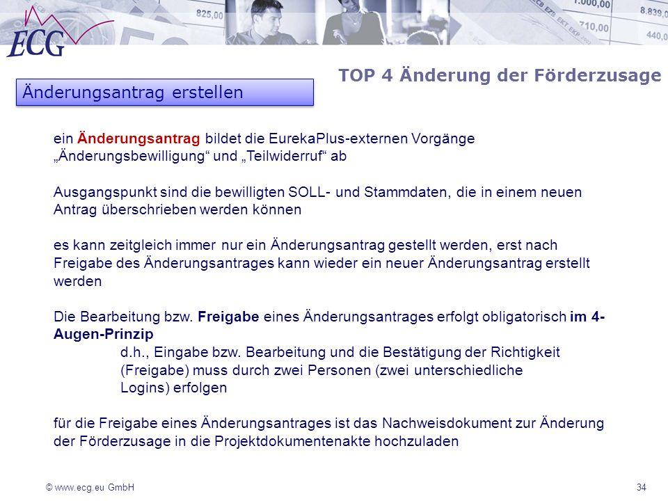 © www.ecg.eu GmbH 34 ein Änderungsantrag bildet die EurekaPlus-externen Vorgänge Änderungsbewilligung und Teilwiderruf ab Ausgangspunkt sind die bewil