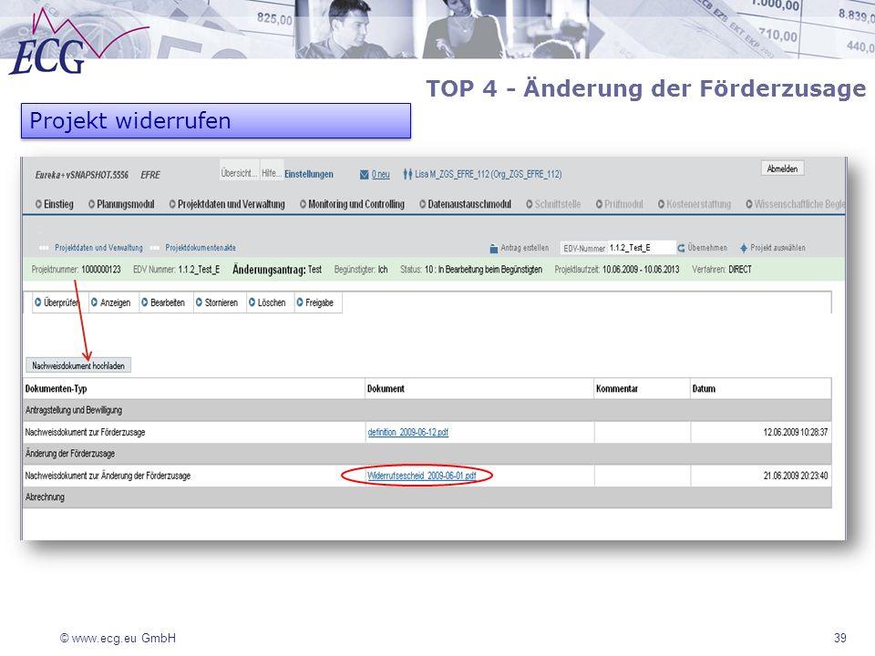 © www.ecg.eu GmbH39 TOP 4 - Änderung der Förderzusage Projekt widerrufen