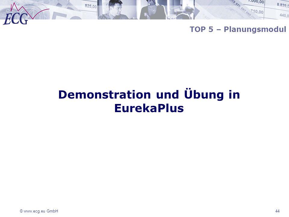 © www.ecg.eu GmbH 44 TOP 5 – Planungsmodul Demonstration und Übung in EurekaPlus