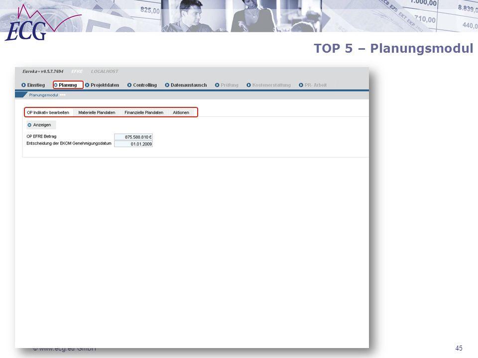 © www.ecg.eu GmbH 45 TOP 5 – Planungsmodul