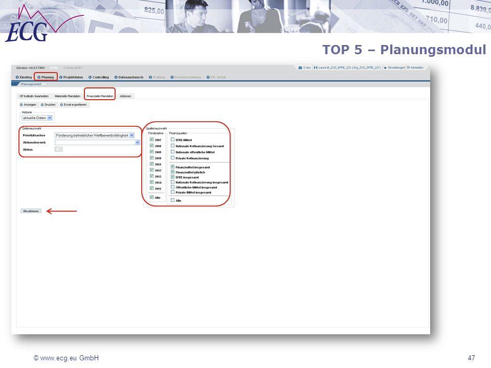 © www.ecg.eu GmbH 47 TOP 5 – Planungsmodul