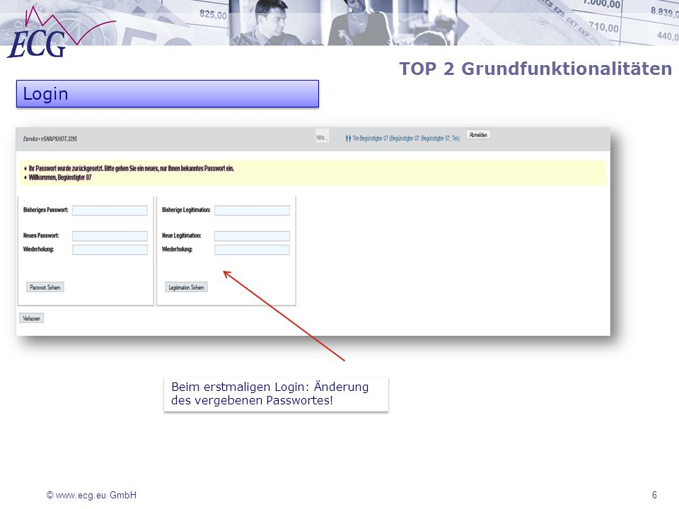 © www.ecg.eu GmbH7 TOP 2 Grundfunktionalitäten Login Einstiegsseite EurekaPlus.
