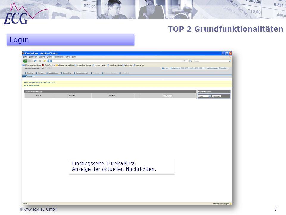 © www.ecg.eu GmbH7 TOP 2 Grundfunktionalitäten Login Einstiegsseite EurekaPlus! Anzeige der aktuellen Nachrichten. Einstiegsseite EurekaPlus! Anzeige