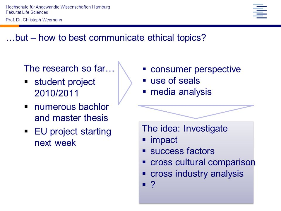 Hochschule für Angewandte Wissenschaften Hamburg Fakultät Life Sciences Prof. Dr. Christoph Wegmann …but – how to best communicate ethical topics? The