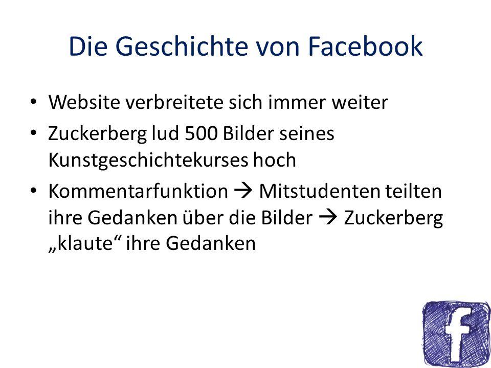 Die Geschichte von Facebook Februar 2004 thefacebook Zuckerberg wollte immer noch Jahrbuch seiner Uni online stellen nur ein paar Bilder und Infos zu jedem Studenten Als Zuckerberg seine Kollegen ins Boot holte, wuchs der Zulauf rasant