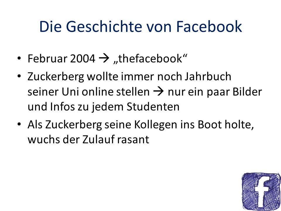 Die Geschichte von Facebook Februar 2004 thefacebook Zuckerberg wollte immer noch Jahrbuch seiner Uni online stellen nur ein paar Bilder und Infos zu