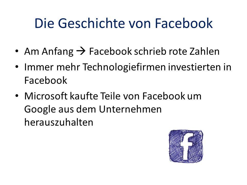Die Geschichte von Facebook Am Anfang Facebook schrieb rote Zahlen Immer mehr Technologiefirmen investierten in Facebook Microsoft kaufte Teile von Fa