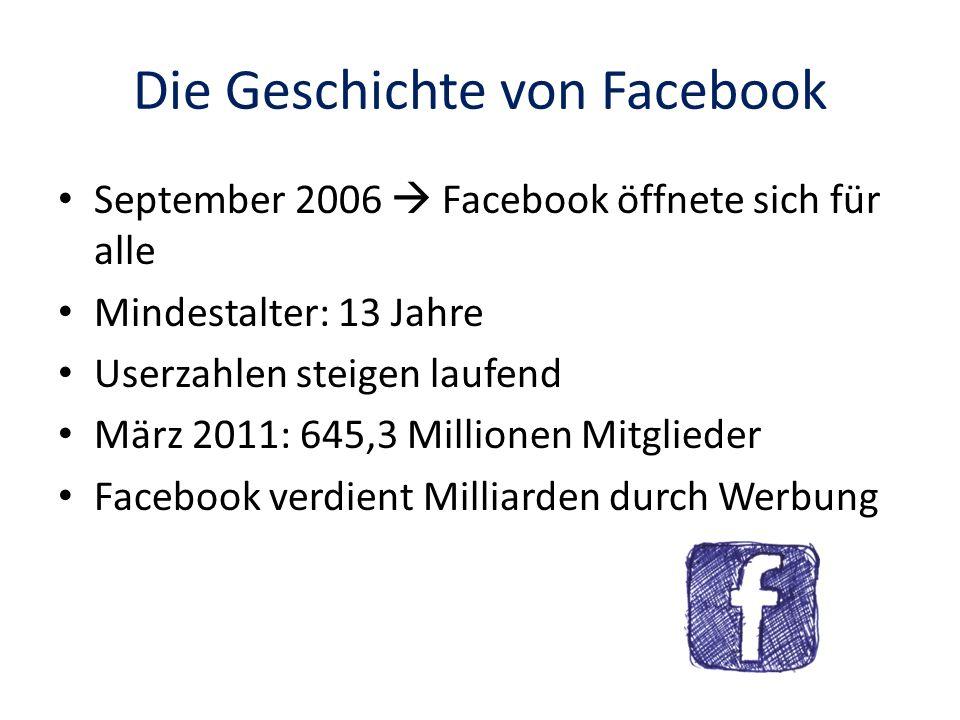 Die Geschichte von Facebook September 2006 Facebook öffnete sich für alle Mindestalter: 13 Jahre Userzahlen steigen laufend März 2011: 645,3 Millionen