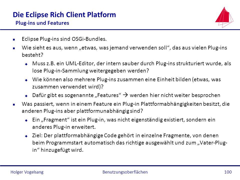 Holger Vogelsang Die Eclipse Rich Client Platform Plug-ins und Features n Eclipse Plug-ins sind OSGi-Bundles. n Wie sieht es aus, wenn etwas, was jema