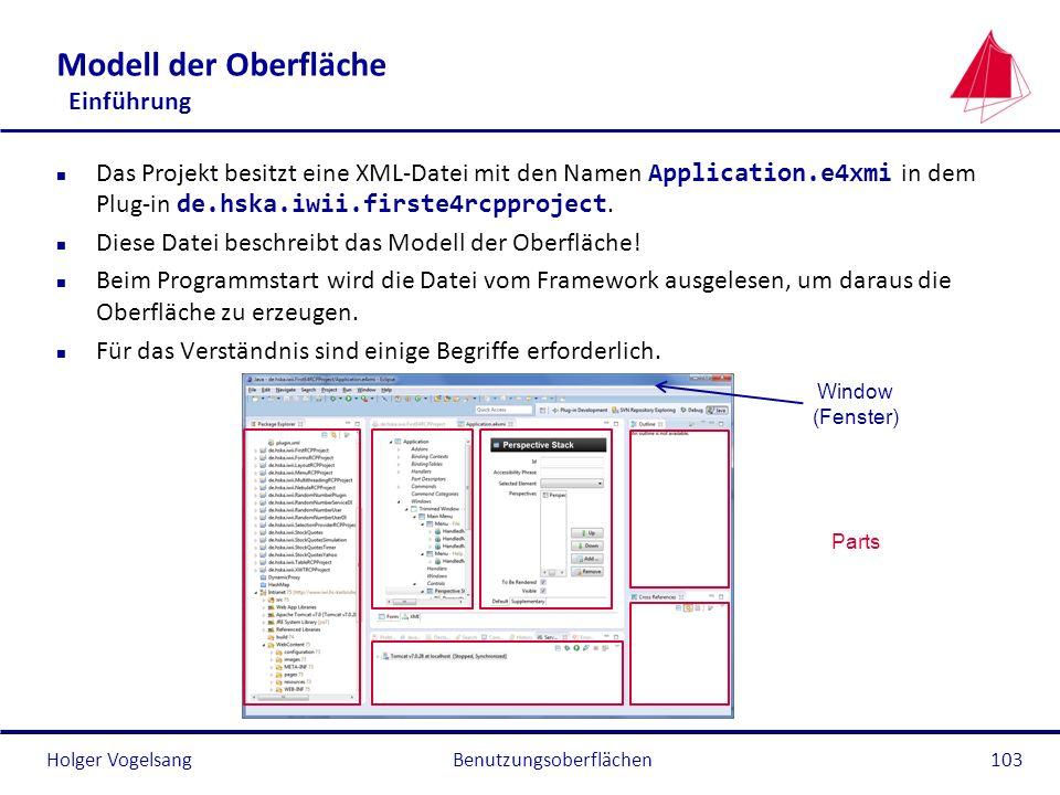 Holger Vogelsang Modell der Oberfläche Einführung Das Projekt besitzt eine XML-Datei mit den Namen Application.e4xmi in dem Plug-in de.hska.iwii.first