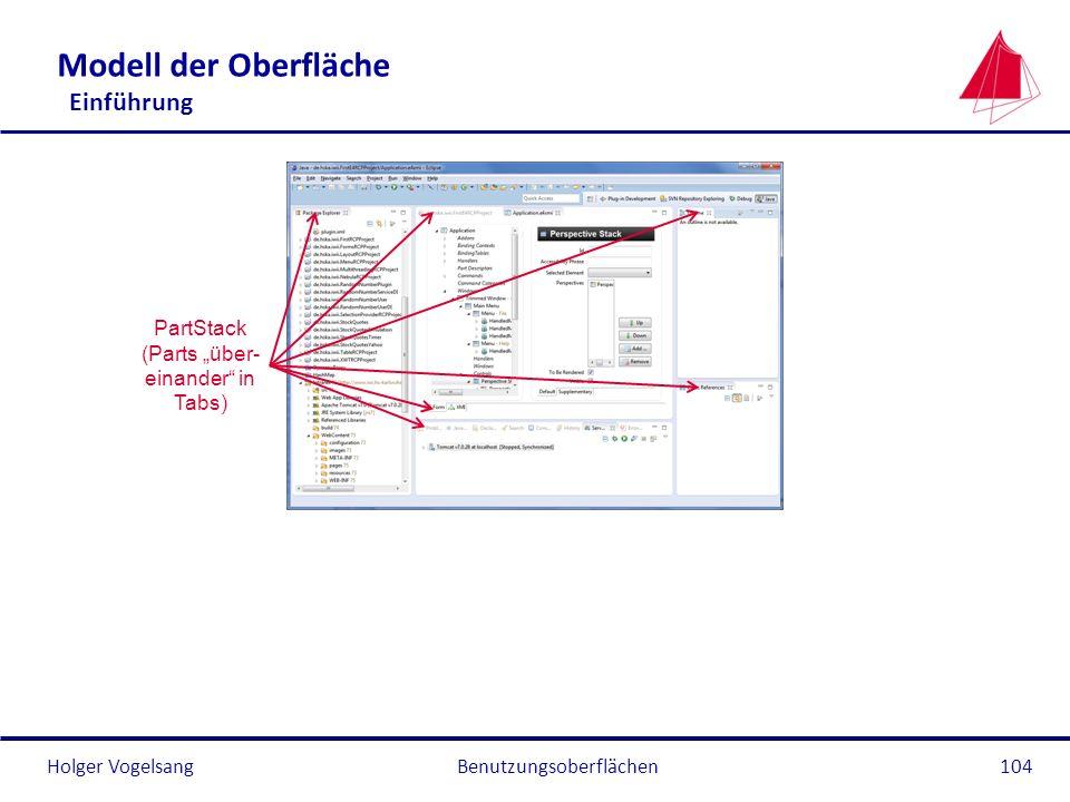 Holger Vogelsang Modell der Oberfläche Einführung Benutzungsoberflächen104 PartStack (Parts über- einander in Tabs)