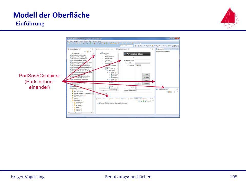 Holger Vogelsang Modell der Oberfläche Einführung Benutzungsoberflächen105 PartSashContainer (Parts neben- einander)