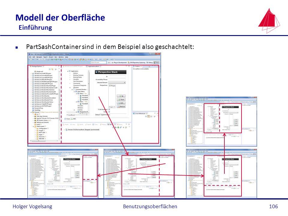 Holger Vogelsang Modell der Oberfläche Einführung n PartSashContainer sind in dem Beispiel also geschachtelt: Benutzungsoberflächen106